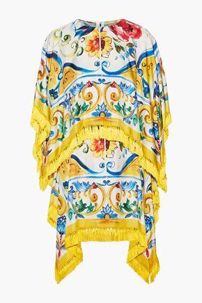 DOLCE & GABBANA Fringed printed stretch silk-blend twill mini dress