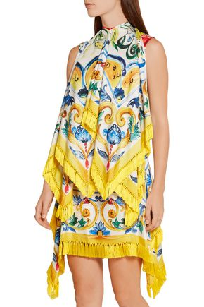 DOLCE & GABBANA Fringed printed stretch silk-blend twill mini dress
