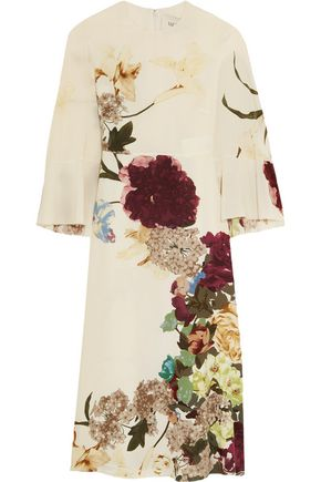 VALENTINO Cape-back floral-print silk midi dress