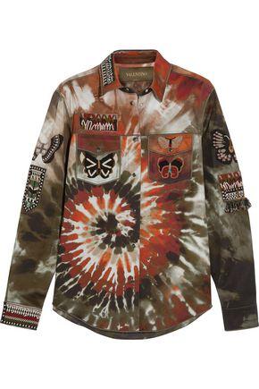 VALENTINO Beaded tie-dye cotton-blend gabardine jacket