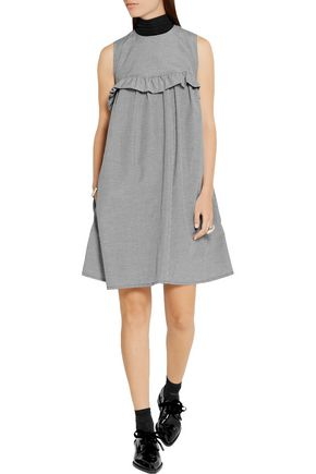 PASKAL Vichy ruffle-trimmed gingham cotton dress