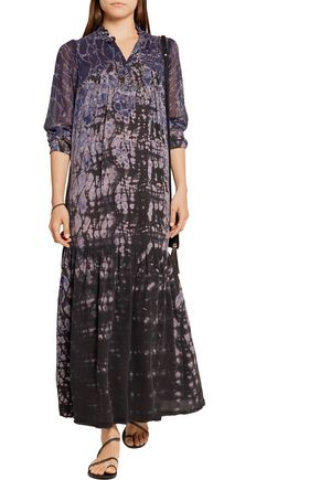 RAQUEL ALLEGRA Tie-dyed washed-silk maxi dress