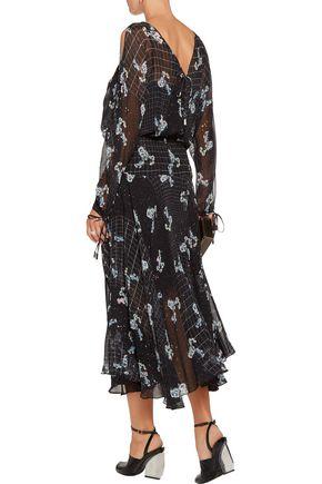 PREEN by THORNTON BREGAZZI Walsh printed devoré silk-blend chiffon midi skirt