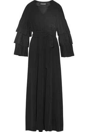 CO Wrap-effect pleated silk-crepe maxi dress