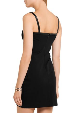 VERSUS VERSACE Leather-trimmed stretch-jersey mini dress