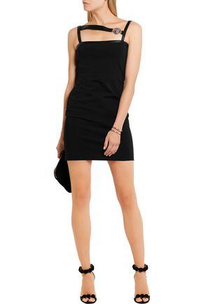 VERSUS Leather-trimmed stretch-jersey mini dress