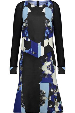 ANTONIO BERARDI Layered printed wool and silk-blend dress