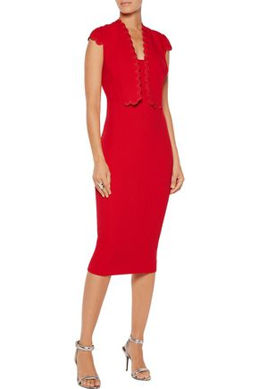 ANTONIO BERARDI Scalloped wool-crepe dress