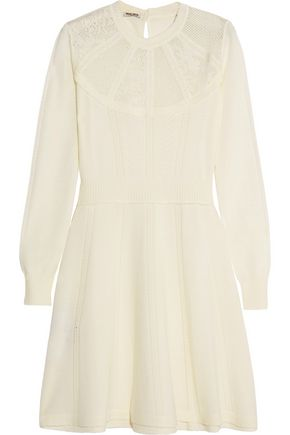 MIU MIU Pointelle-knit wool mini dress