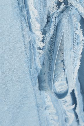 SPLENDID Frayed washed-crepe de chine mini dress