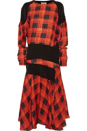 PREEN by THORNTON BREGAZZI Luke paneled checked silk midi dress