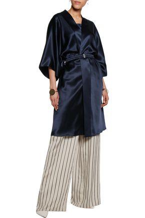 ADAM LIPPES Belted silk-satin kimono jacket