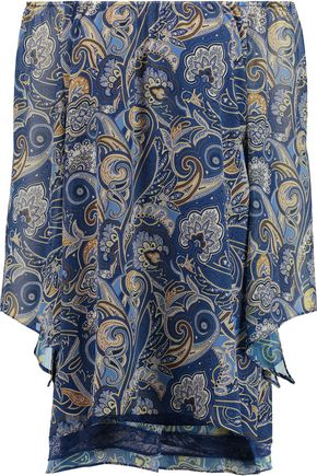 ALICE + OLIVIA Cari off-the-shoulder printed crepe mini dress