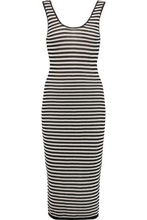 ALICE + OLIVIA Janel striped crochet-knit midi dress
