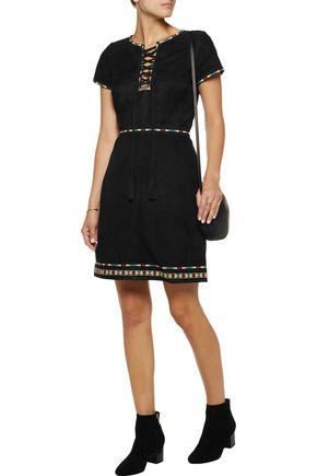 TALITHA Embroidered suede mini dress