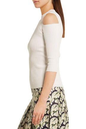 MAJE Cutout ribbed-knit top
