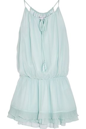 ELIZABETH AND JAMES Kenji crinkled silk-georgette mini dress