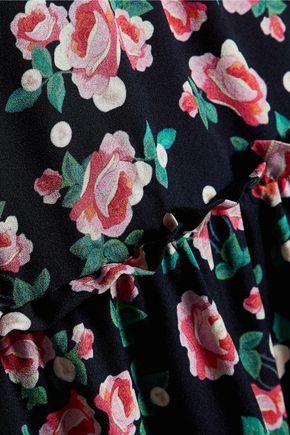 MOTHER OF PEARL Claudine ruffled floral-print silk-crepe midi dress