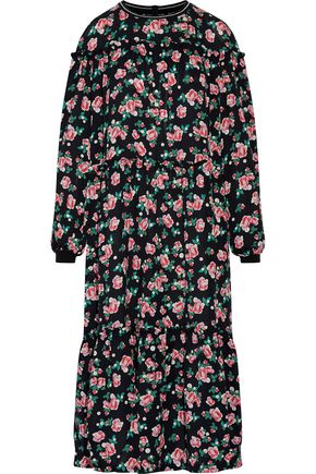 MOTHER OF PEARL Claudine ruffle-trimmed floral-print silk-crepe midi dress