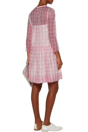 ROCHAS Pleated gingham silk-tulle mini dress
