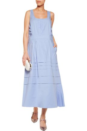 ROCHAS Lace-paneled cotton-blend midi dress