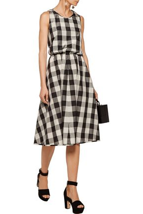 ROCHAS Cutout gingham silk and cotton-blend midi dress