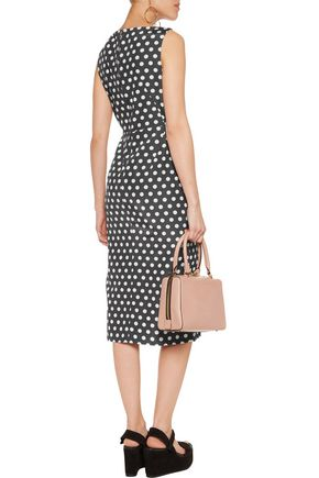 ROCHAS Polka-dot cotton and silk-blend faille midi dress