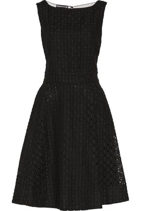 ROCHAS Tulle-paneled embroidered cotton and linen-blend dress