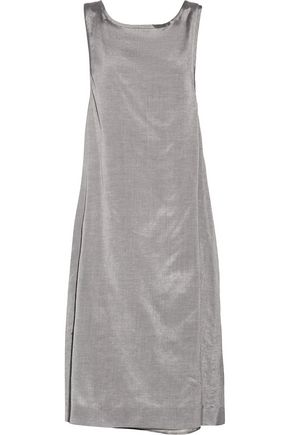 ROCHAS Metallic bow-embellished silk and cotton-blend dress