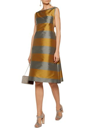 ROCHAS Two-tone striped satin dress
