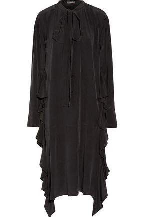 ROCHAS Pussy-bow ruffled silk midi dress