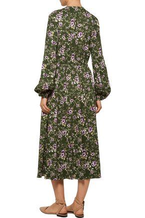 ROCHAS Pleated printed crepe midi dress
