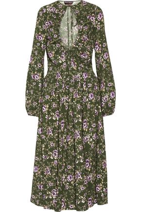 ROCHAS Pleated printed crepe midi dress