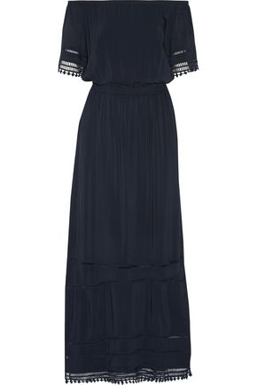 TART COLLECTIONS Pointelle and crochet-trimmed broadcloth maxi dress