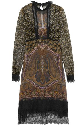 ETRO Lace-trimmed printed silk-georgette dress