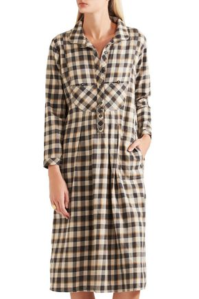 THE GREAT. The Popover checked cotton dress
