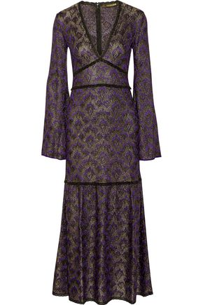 ROBERTO CAVALLI Lace-trimmed metallic crochet-knit maxi dress