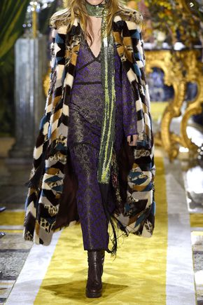 ROBERTO CAVALLI Lace-trimmed metallic crochet-knit maxi dress