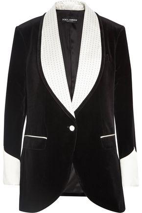 DOLCE & GABBANA Silk blend-trimmed velvet blazer