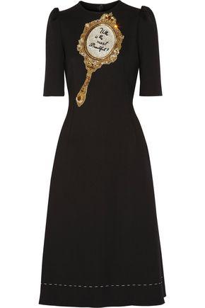 DOLCE & GABBANA Embellished wool-blend crepe dress