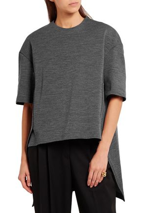 MARNI Asymmetric wool-blend jersey top