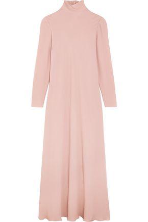 VALENTINO Silk-crepe turtleneck maxi dress