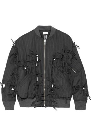 FACETASM Bow-embellished pinstriped wool-twill bomber jacket