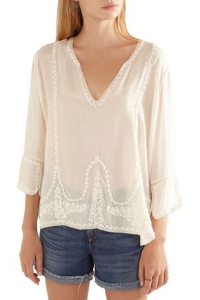 THE GREAT. Folk embroidered silk blouse