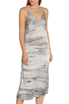 RAQUEL ALLEGRA Tie-dyed silk-charmeuse midi dress