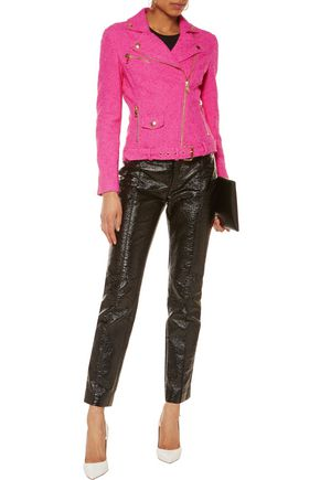 MOSCHINO CHEAP AND CHIC Cotton-blend bouclé biker jacket