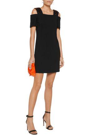 EMILIO PUCCI Cold-shoulder crystal-embellished crepe mini dress