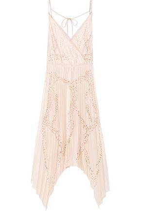 EMILIO PUCCI Laser-cut matte-satin and silk-chiffon midi dress