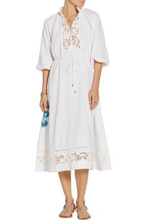 Zimmermann Alchemy Guipure Lace Paneled Linen Blend Dress