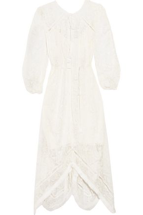 ZIMMERMANN Henna pointelle-trimmed embroidered silk-chiffon dress